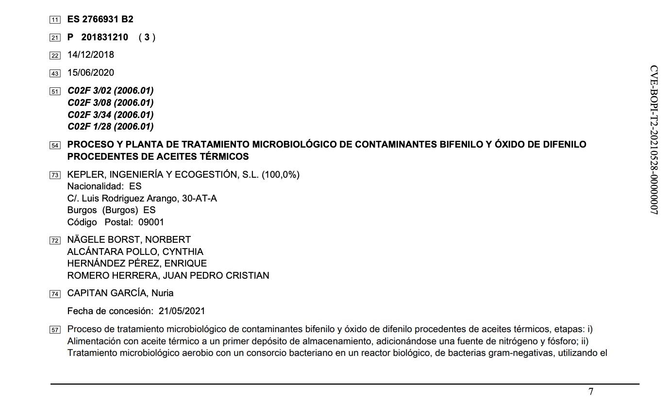 patente tratamiento bifenilo oxido difenilo 1